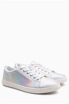 Holographic Lace-Up Trainers