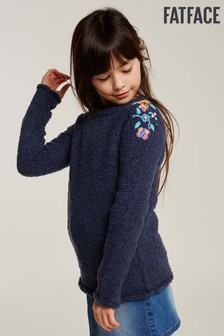 FatFace Blue Embroidered Crew Neck Jumper