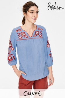 Boden Blue Abigail Embroidered Top