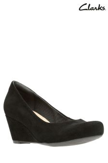 Clarks Black Suede Wedge Shoe