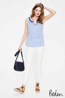 Boden Ivory Cropped Soho Skinny Jean