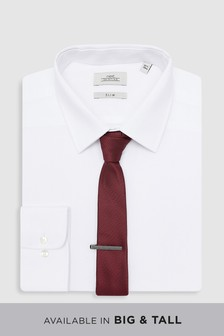 Shirt With Burgundy Tie And Tie Clip Set