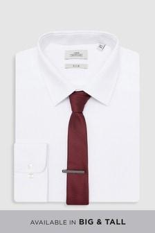 Комплект: рубашка, бордовый галстук и зажим для галстука