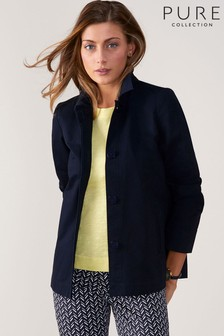 Pure Collection Blue Soft Cotton Collared Jacket