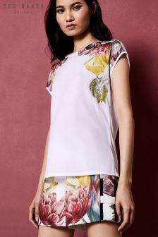 Ted Baker Anee White Woven Floral Tee