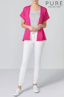 Pure Collection Pink Linen Relaxed Cardigan