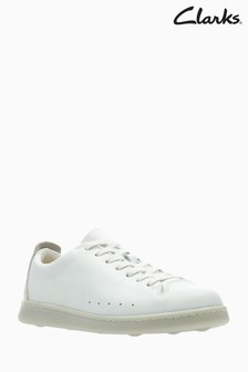 Clarks White Leather Nate Lace Kids Trainer