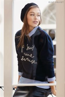 Mint Velvet Je Suis Logo Sweat