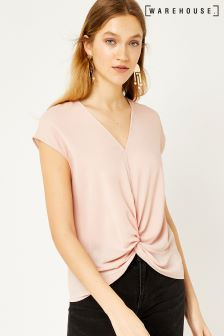 Warehouse Pink Short Sleeve Knot Front Top