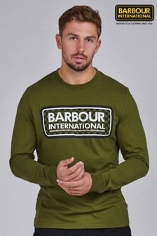 Barbour® International Green Grid Logo Long Sleeve Top