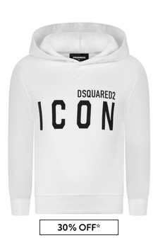 Kids White Cotton Icon Hoody