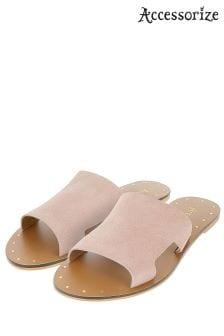 Accessorize Pink Ellen Suede Slider Sandal