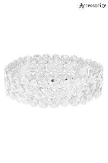 Accessorize Silver Textured Disc Stretch Bracelet