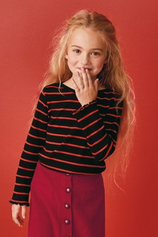 Stripe Long Sleeve Rib Top (3-16yrs)