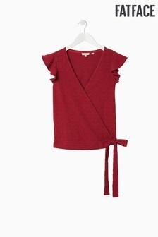 FatFace Red Anzia Wrap Top