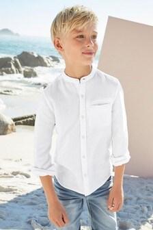 Long Sleeve Textured Grandad Shirt (3-16yrs)