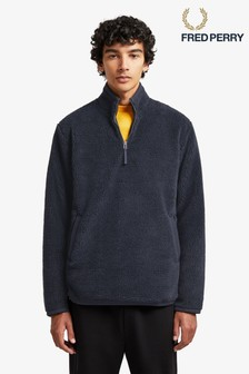 Fred Perry Navy Borg Half Zip Fleece