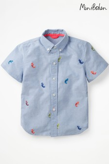 Boden Blue Fun Short Sleeved Shirt
