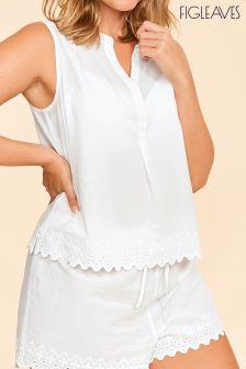 Haut de pyjama Figleaves Harlyn blanc brodé