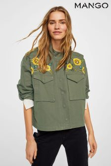 Mango Khaki Embroidered Jacket
