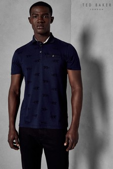 Ted Baker Navy Tigers Flocked Polo