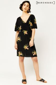 Warehouse Black Tropical Bunch Wrap Dress