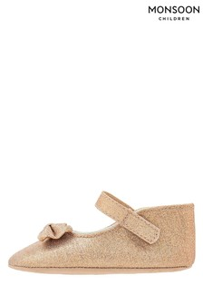 Monsoon Gold Lydia Bow Bootie Shoes