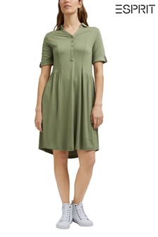 Esprit Green Knitted Dress With Short Sleeve