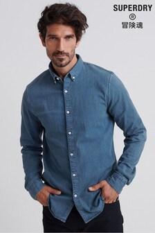 Superdry Blue Slim Long Sleeve Shirt