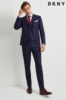 Pantaloni DKNY slim fit texturați culoarea cernelii