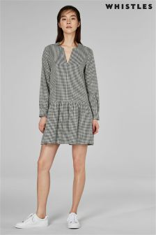 Whistles Black Gingham Drop Hem Dress