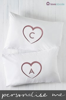 Personalised Gold Heart Pillowcases by Loveabode