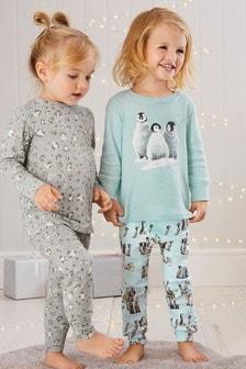 מארז שתי פיג'מות מודפסות בגזרה צמודה עם פינגווינים (9 חודשים-8 שנים)