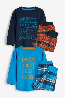 Mummy/Daddy Woven Check Snuggle Pyjamas Two Pack (9mths-8yrs)