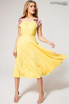 HotSquash Yellow Sunray Pleat Skirt