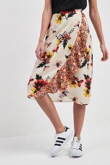 Юбка с запахом и комбинированным цветочным принтом