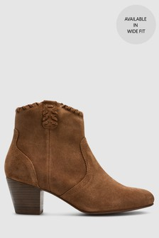 8e69ad10152 Suede Western Ankle Boots