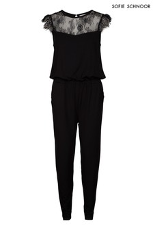 Sofie Schnoor Black Jersey Lace Trim Jumpsuit