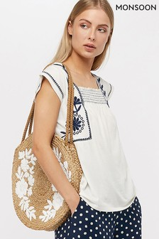 Monsoon Ladies Cream Ester Embroidered Square Neck Top