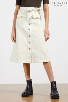 Ted Baker Xandra Denim A-Line Button Front Skirt
