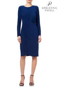 Adrianna Papell Blue Matte Jersey Draped Wrap Skirt