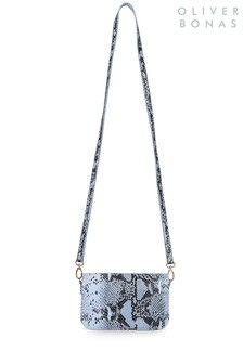 Oliver Bonas Blue Demi Snake Crossbody Bag
