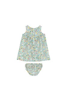 Cath Kidston® Cream Baby Frill Placket Dress With Bloomer