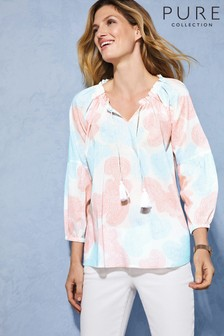 Pure Collection Pink Tie Neck Blouse