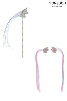 Monsoon Multi Glitzy Glam Unicorn Wand & Clips Set