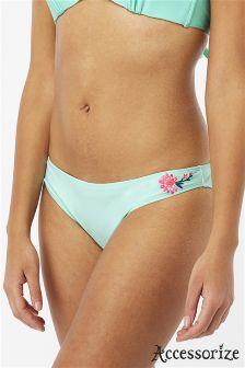 Accessorize Green Embroidered Bikini Brief