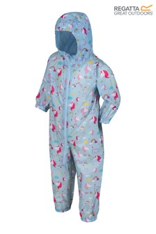Regatta Blue Kid's Waterproof All-In-One Printed Puddlesuit