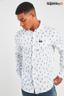 Superdry White Polly Pin Up Print Shirt