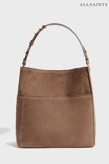 AllSaints Almond Suede Ziggy Hobo Bag