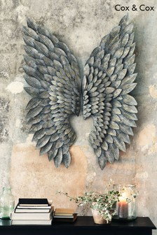 Grey Washed Gilt Metal Angel Wings